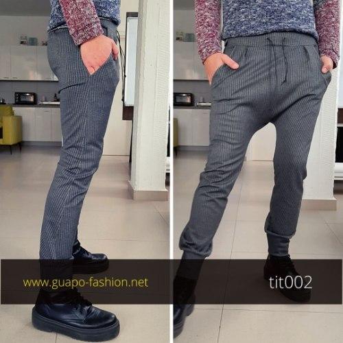 מכנסיים בגזרת טיטול לגברים - אפור כהה עם פסים לבנים| מראה סטריט-מחויט | בגדי גברים