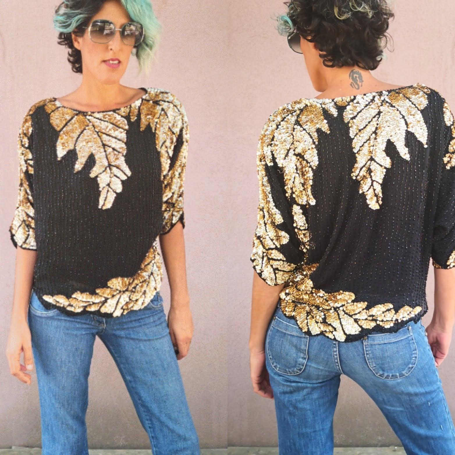 חולצת פאייטים מרשימה בטירוף מידה L