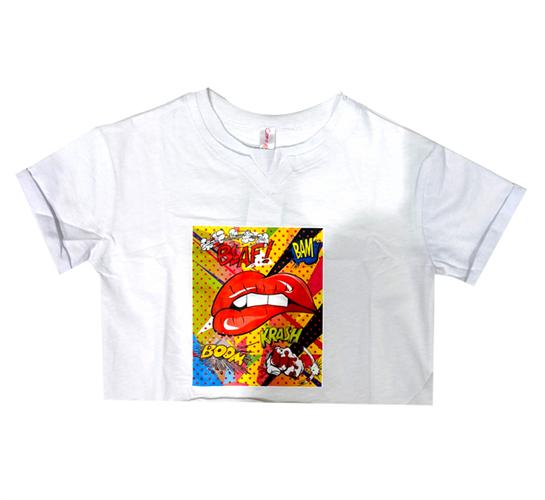 חולצת פופ ארט לבנה COMO MAMA