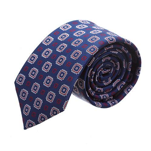 עניבה ריבועים משולב אדום לבן כחול