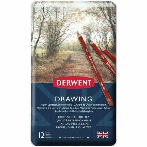 סט 12 עפרונות רישום גווני טבע DERWENT