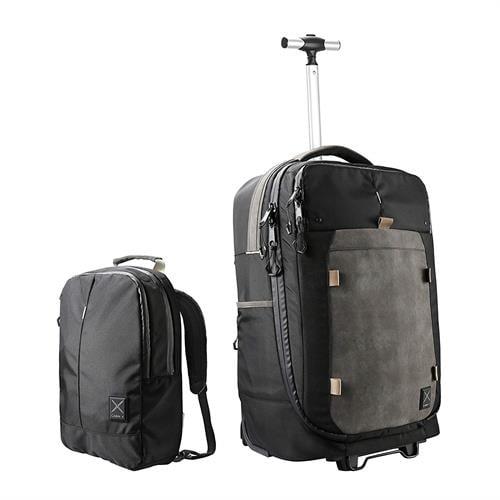 תיק גב/ טרולי היברידי עם תיק גב ניתק CABIN MAX X ONE BLACK 55x35x20