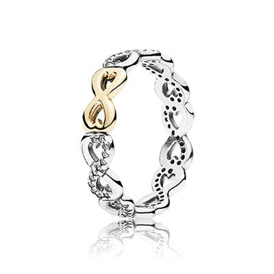 טבעת אהבה נצחית כסף סטרלינג וזהב 14K