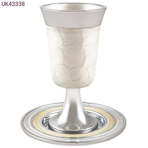 גביע קידוש מהודר מאלומניום עם תחתית גוון לבן 15 סמ