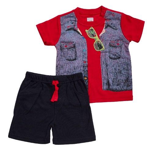 חליפה קצרה הדפס וסט ג'ינס אדום
