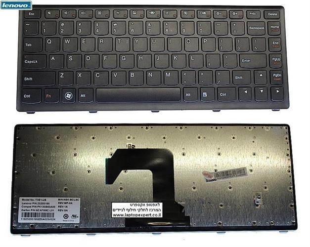מקלדת להחלפה במחשב נייד לנובו Lenovo Ideapad S300 S310 S400 S405 S410 Black - 25205195 T3E1-US