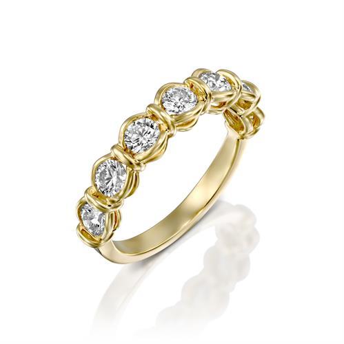 טבעת יהלומי הפאר משובצת יהלומים 1 קראט בזהב צהוב או לבן