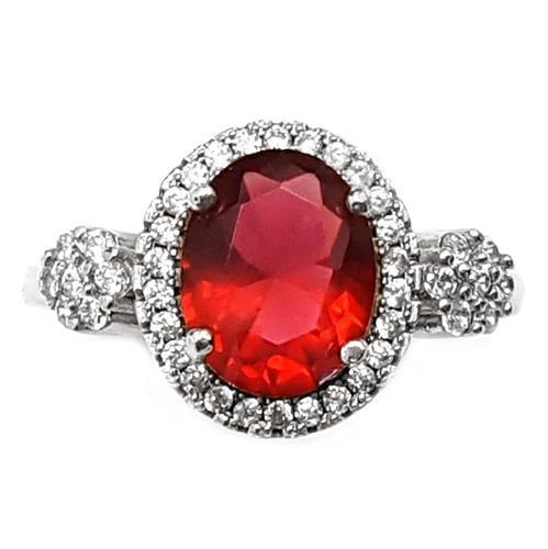 טבעת כסף משובצת אבן זרקון אדומה ואבני זרקון קטנות  RG5932 | תכשיטי כסף 925 | טבעות כסף