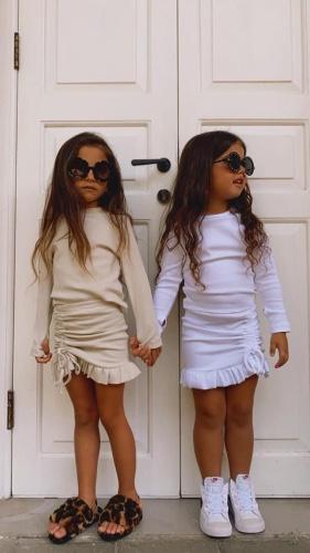 חליפה ארוכה לבנה כיווצים MISS KIDS - מידות 2-16