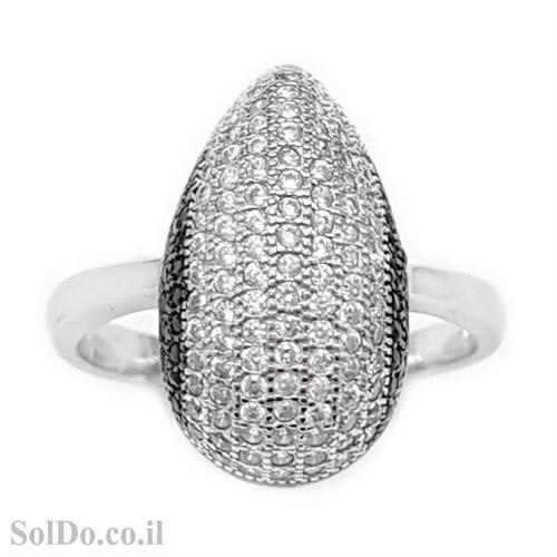 טבעת מכסף משובצת אבני זרקון שחורות ולבנות RG6058 | תכשיטי כסף | טבעות כסף