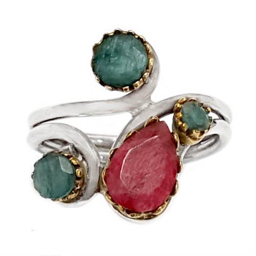 טבעת מכסף  משובצת רובי ואבני אמרלד RG6163 | תכשיטי כסף 925