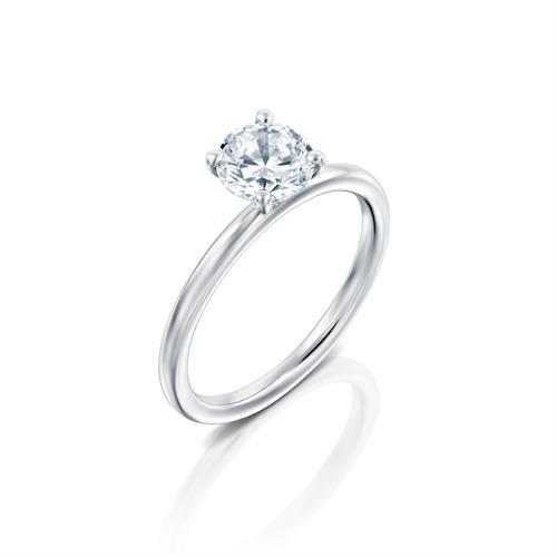 טבעת אירוסין זהב לבן 14 קראט משובצת יהלום מרכזי MARTINI WHITE