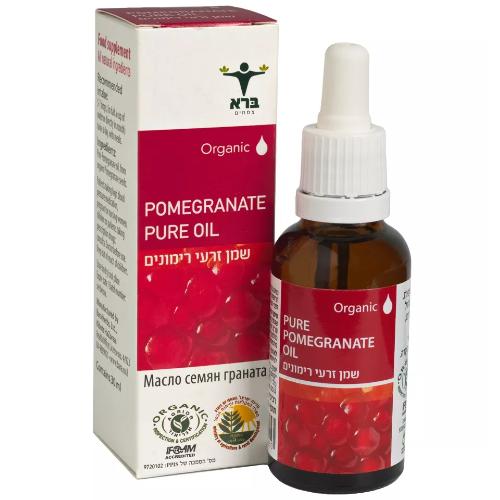 "Pure Organic pomegranate Oil, שמן זרעי רימונים אורגני, 30 מ""ל, ברא"