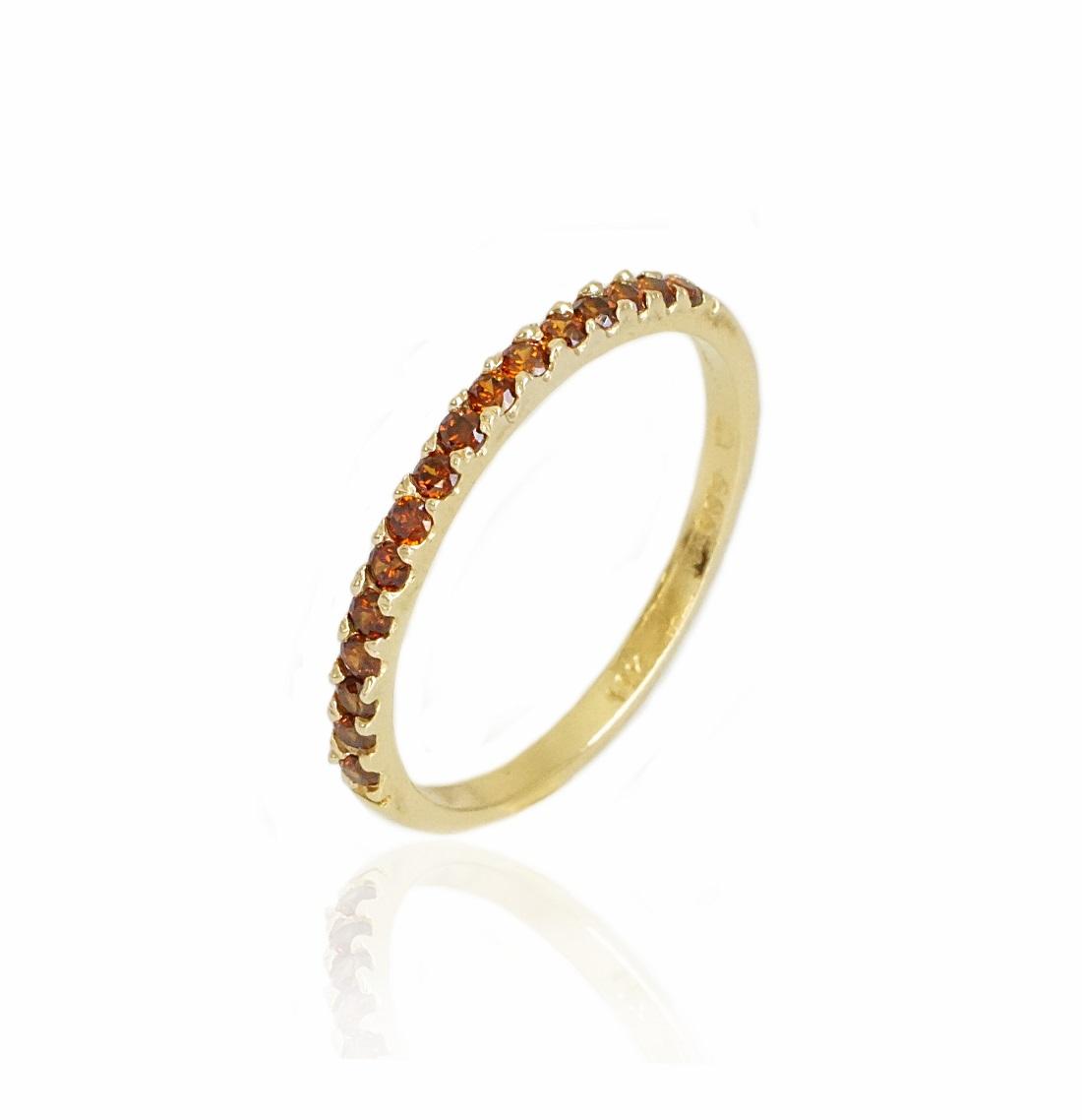 טבעת איטרניטי  זרקונים בצבע חום בזהב 14 קרט טבעת זהב משלימה