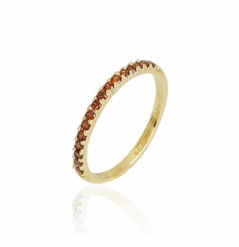 טבעת איטרניטי  זרקונים בצבע חום בזהב 14 קרט|טבעת זהב משלימה