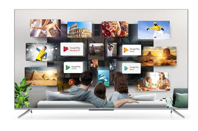 """טלוויזיה TCL חכמה """"50 UHD/4K ללא מסגרת Android TV 9 הפעלה קולית 50P715"""