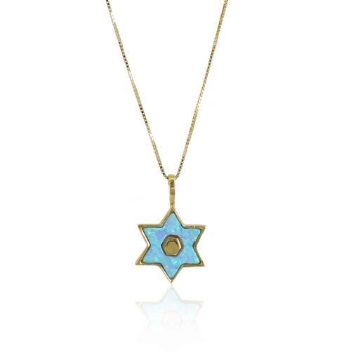 שרשרת זהב מגן דוד זהב מאבן אופל