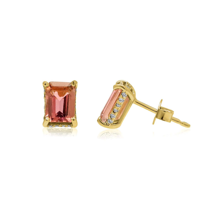 עגילי זהב יהלומים ואבן חן טורמלין