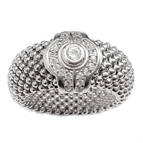 טבעת כסף רחבה גמישה משובצת אבני זרקון  RG5971
