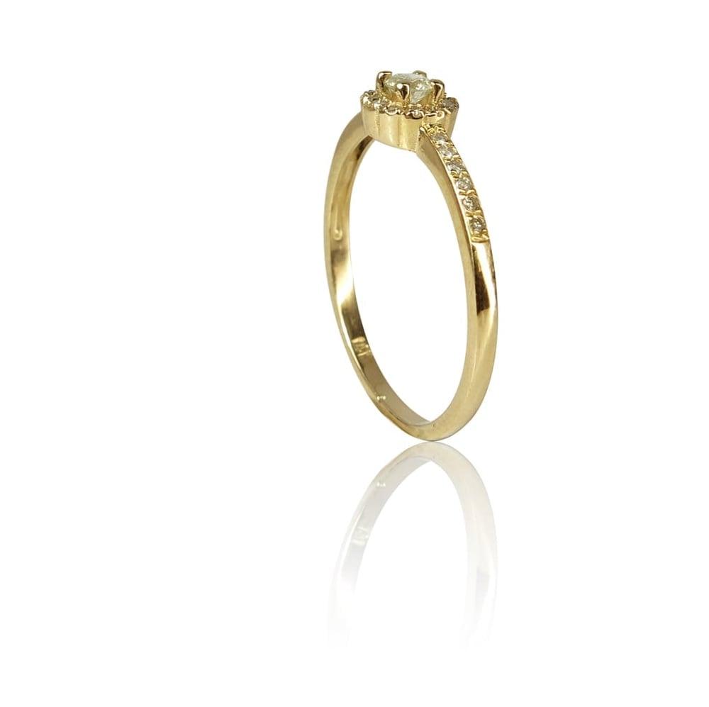 טבעת זהב 14K משובצת יהלומים 0.25 קראט