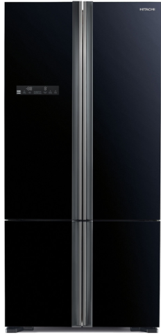 מקרר 4 דלתות היטאצי גימור זכוכית שחורה דגם HITACHI R-WB730PRS5