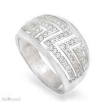 טבעת רחבה מכסף משובצת אבני זרקון  RG6072 | תכשיטי כסף | טבעות כסף