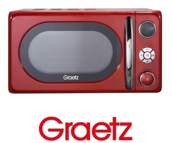 Graetz מיקרוגל דיגיטלי 20 ליטר בעיצוב רטרו גוון אדום דגם MW-453