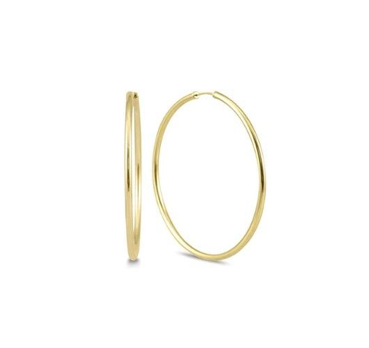 עגילי חישוק גדולים 4.9 סמ זהב צהוב │ עגילי חישוק גדולים גמישים במיוחד