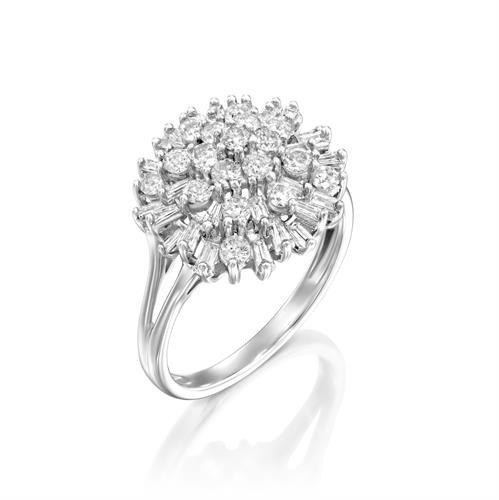 טבעת מפץ היהלומים משובצת 1 קראט יהלומים בזהב לבן או צהוב