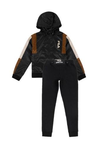 חליפת עליונית ניילון עם פס ברונזה וטייץ שחור FILA - מידות 6-16