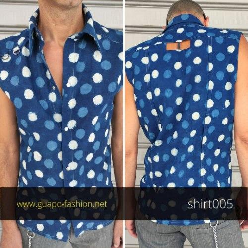 חולצה מכופתרת מכותנה לגברים - ללא שרוולים