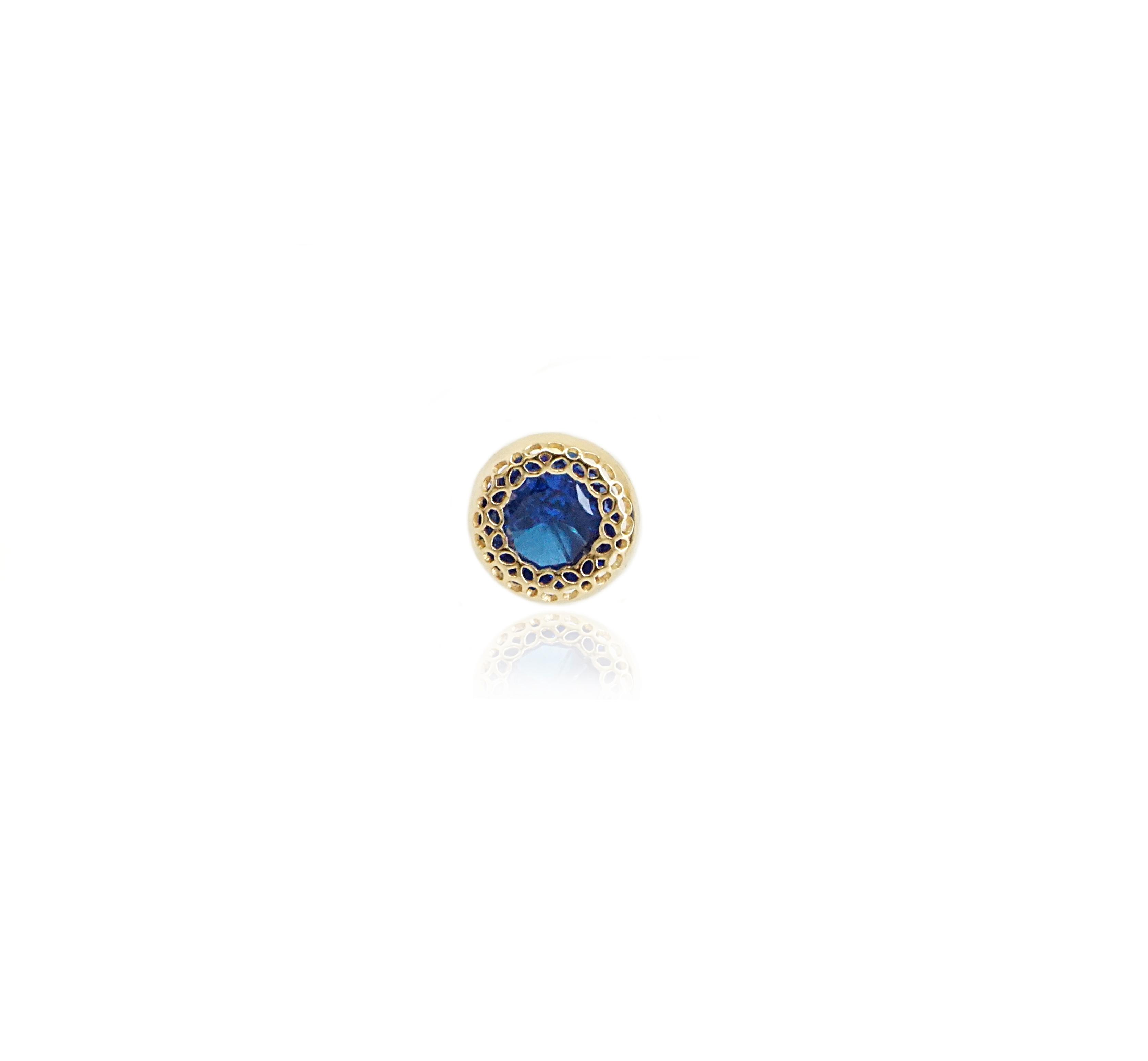 עגיל זהב זרקון כחול בודד