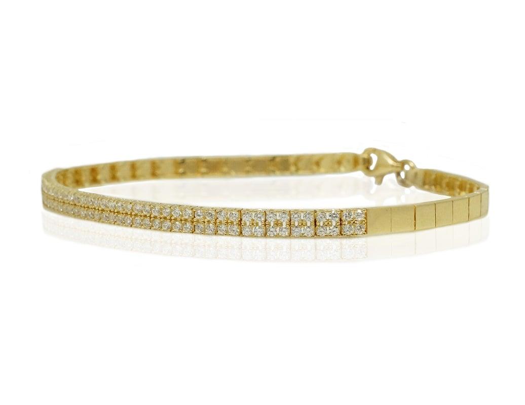 צמיד זהב חצי טניס עם זרקונים בזהב 14 קרט