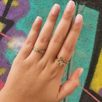 טבעת זהב פרפר יהלומים ואמרלדים