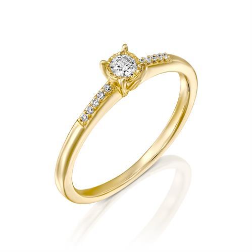 טבעת ניצוץ נצחי משובצת יהלומים בזהב לבן או צהוב 14 קראט
