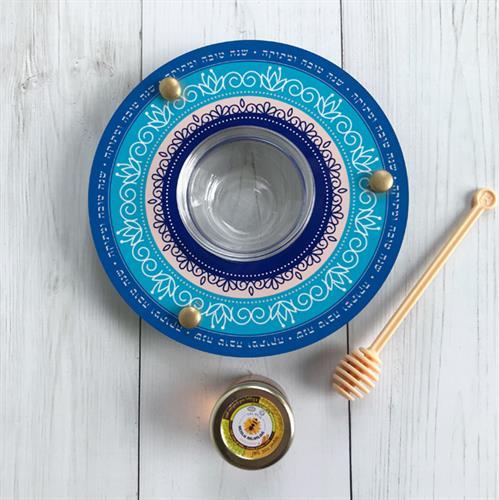 כלי לדבש ותפוחים כחול Dvash_17