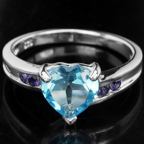 טבעת כסף לב משובצת