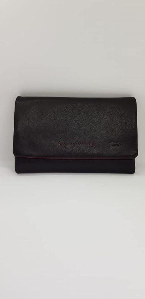 ארנק עור 6008 שחור/אדום