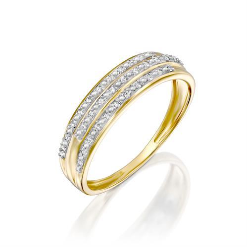 טבעת פרח הזוגיות משובצת יהלומים בזהב לבן או צהוב 14 קראט