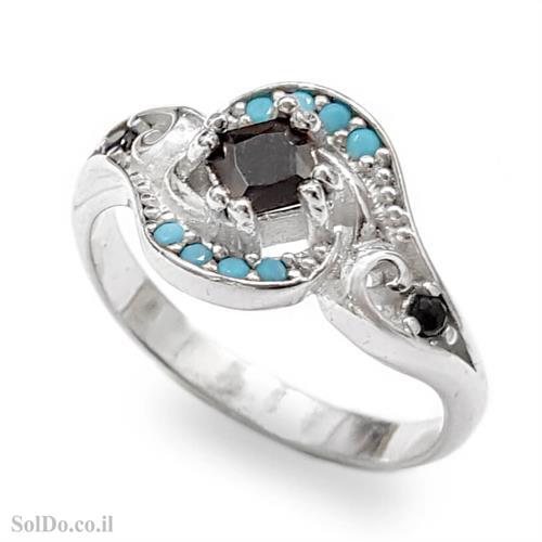 טבעת מכסף משובצת אבני זרקון צבע שחור ותכלת RG1626 | תכשיטי כסף 925